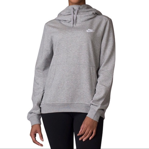 bad6c3367e68 Grey NIKE Women s Club Funnel Hoodie Sweatshirt